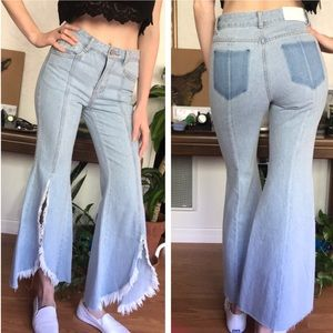 SJYP Korean split leg flare kickers jeans